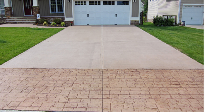 Stamped concrete driveway for Cleaning colored concrete