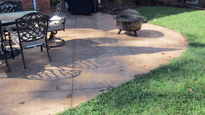concrete patio with square fire pit. Stamped Concrete Patio And Fire Pit With Square